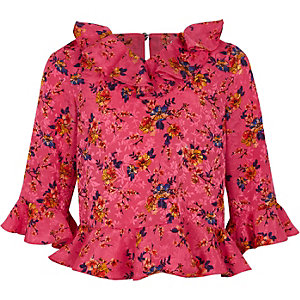 Girls pink floral ruffle neck blouse