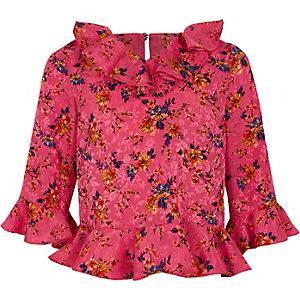 Chemisier à fleurs rose à volants au col pour fille