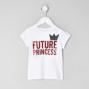 Mini girls white 'future princess' T-shirt