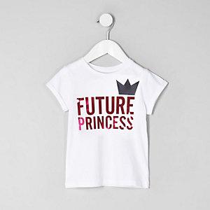 Mini - Wit T-shirt met 'future princess'-print voor meisjes