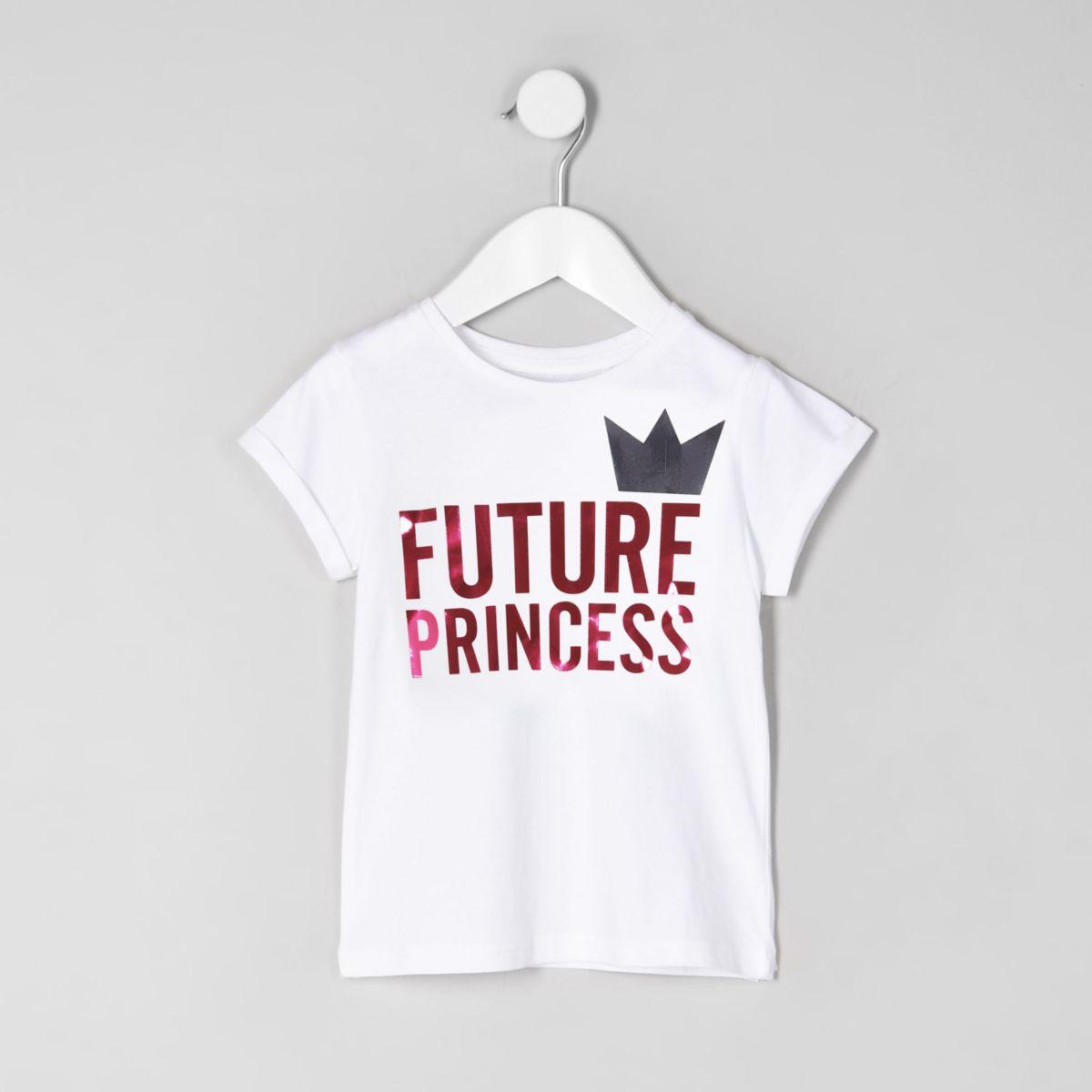 Mini girls white 'future princess' T-shirt