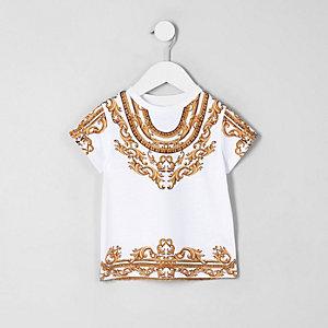 Mini - Wit T-shirt met barokprint voor meisjes