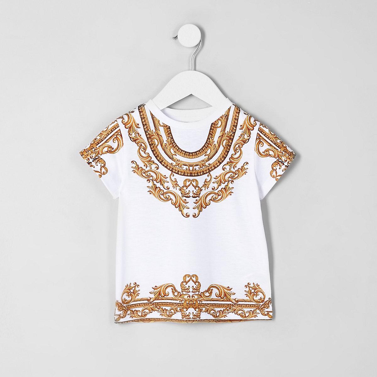 Mini girls white baroque T-shirt