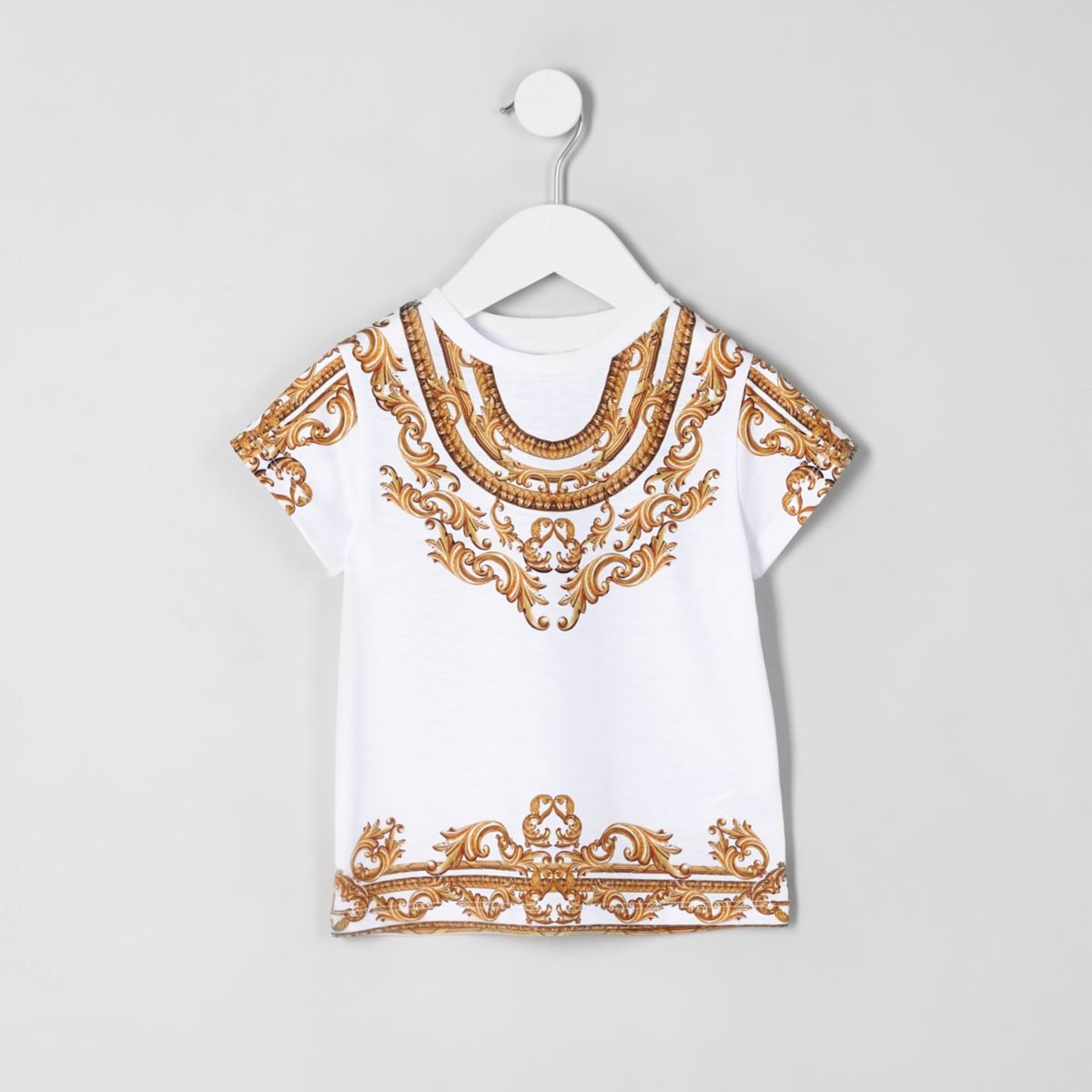 Mini girls white baroque T-shirt