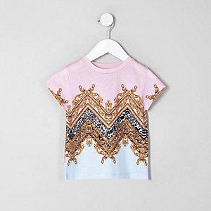 Mini - Roze T-shirt met barokprint voor meisjes