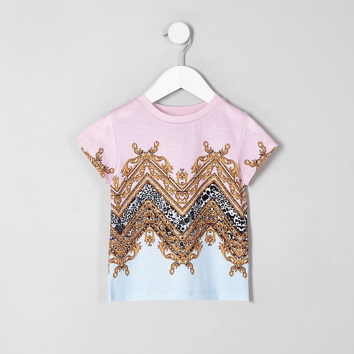 Pinkes T-Shirt mit Barock-Muster