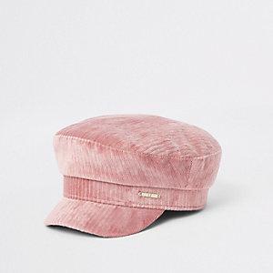 Roze corduroy bakerboy-pet voor meisjes
