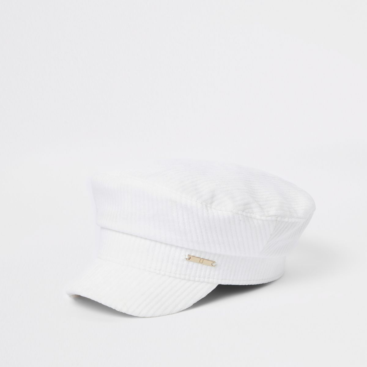 Girls white cord baker boy hat