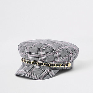 Girls grey check baker boy hat