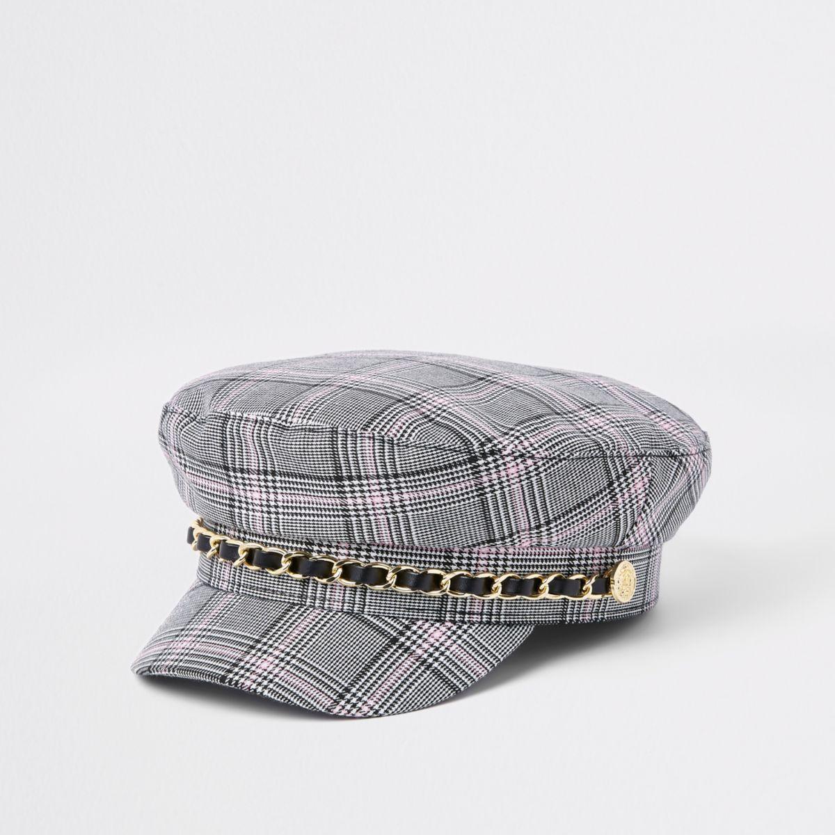 Girls grey check baker boy hat