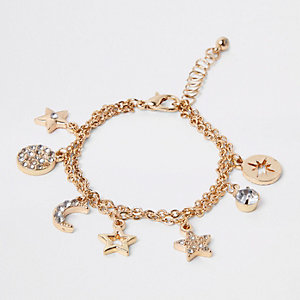 Girls gold diamante charm bracelet