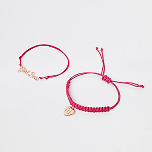 Girls pink gold tone friendship bracelet