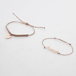 Girls rose gold tone friendship bracelet