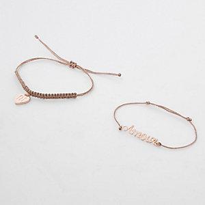 Bracelet de l'amitié façon or rose fille