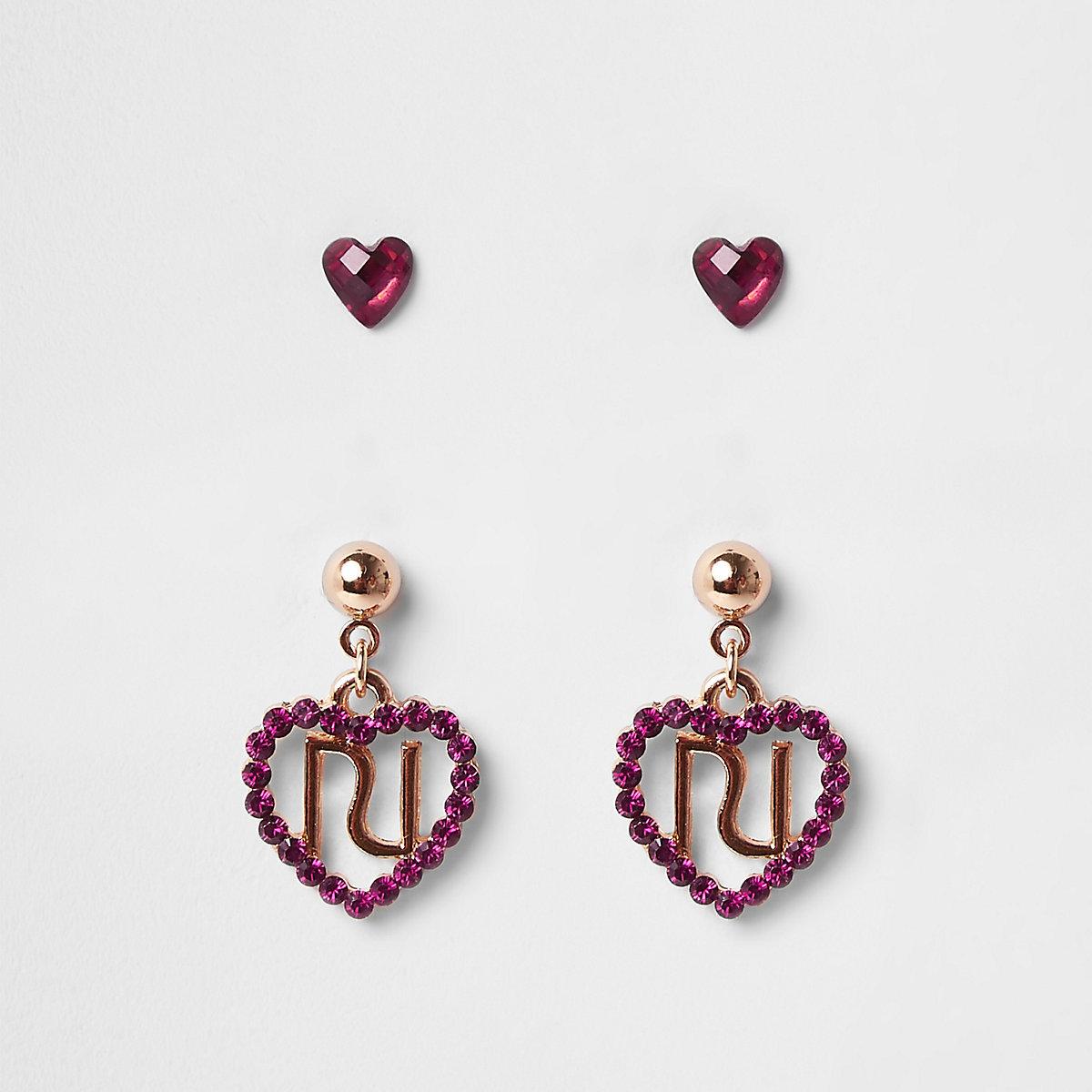 Girls pink diamante stud earrings multipack