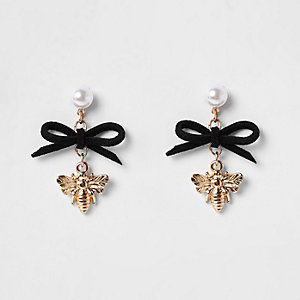 Girls black black bee and bow charm earrings