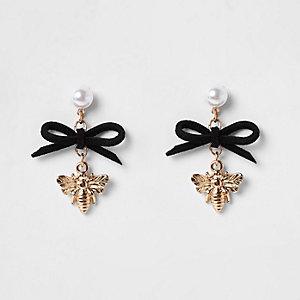 Boucles d'oreilles à pendants abeille et nœud noir fille