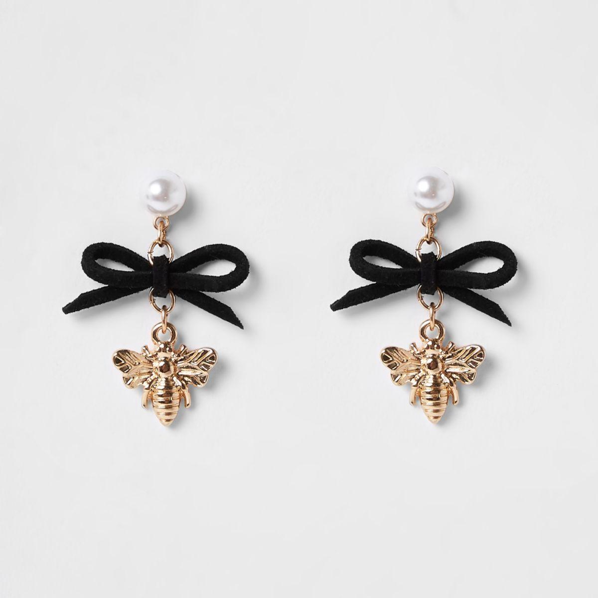 Girls black black bee and bow charm earrings