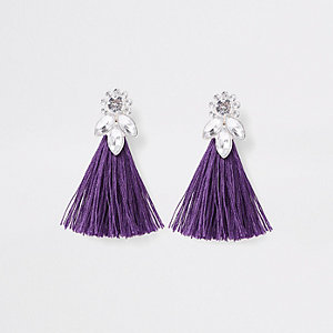 Girls purple tassel diamante jewel earrings