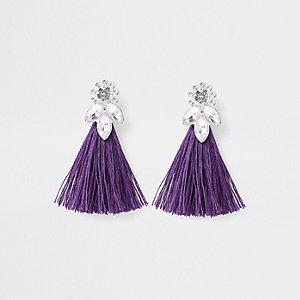 Girls purple tassel rhinestone jewel earrings