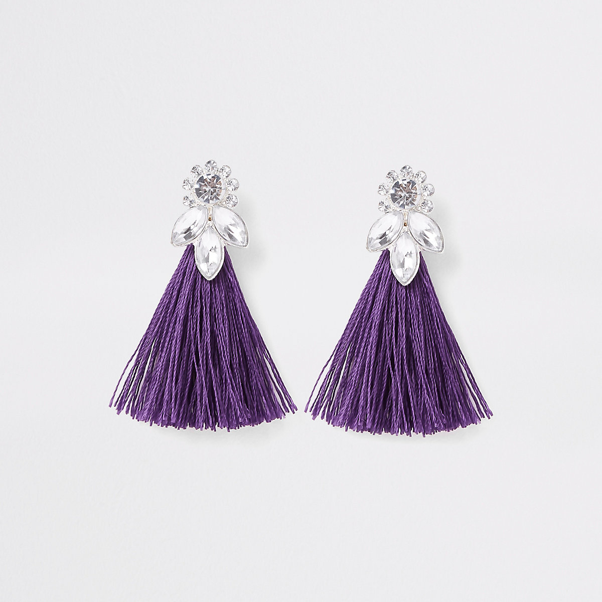 Girls purple tassel rhinestone jewel earrings