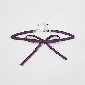 Ras-de-cou en velours violet à nœud pour fille