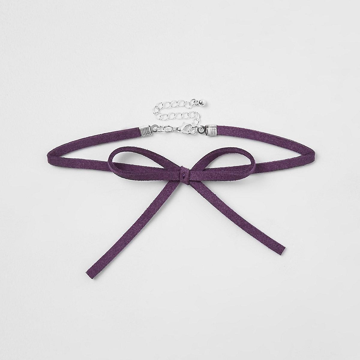 Girls purple velvet bow choker