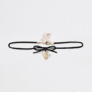 Ras-de-cou doré avec nœud noir pour fille