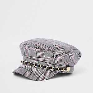 Mini girls grey check chain trim captains hat