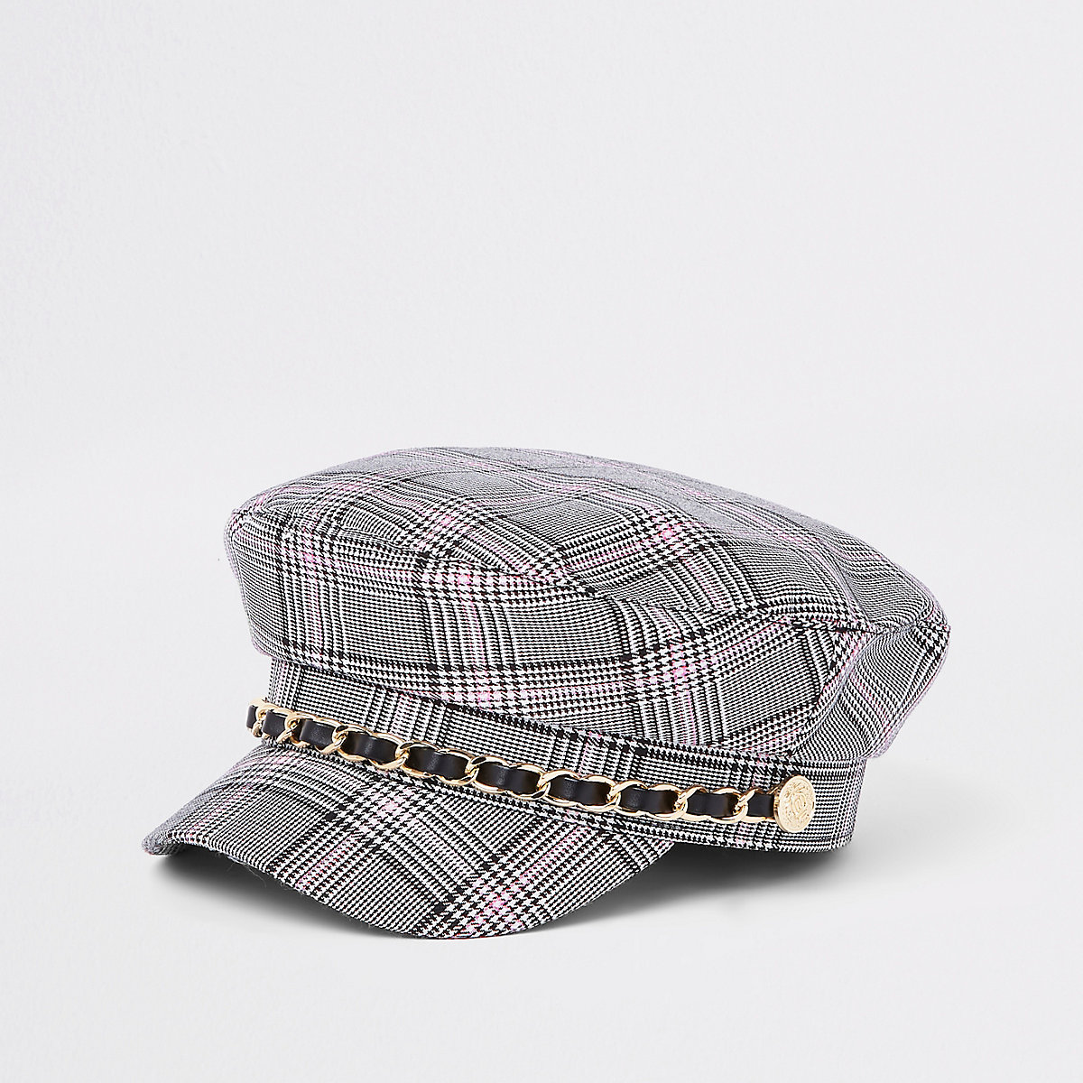 Mini girls grey check chain trim captains hat