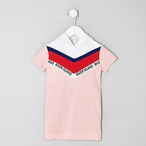 Mini girls pink chevron sweatshirt dress