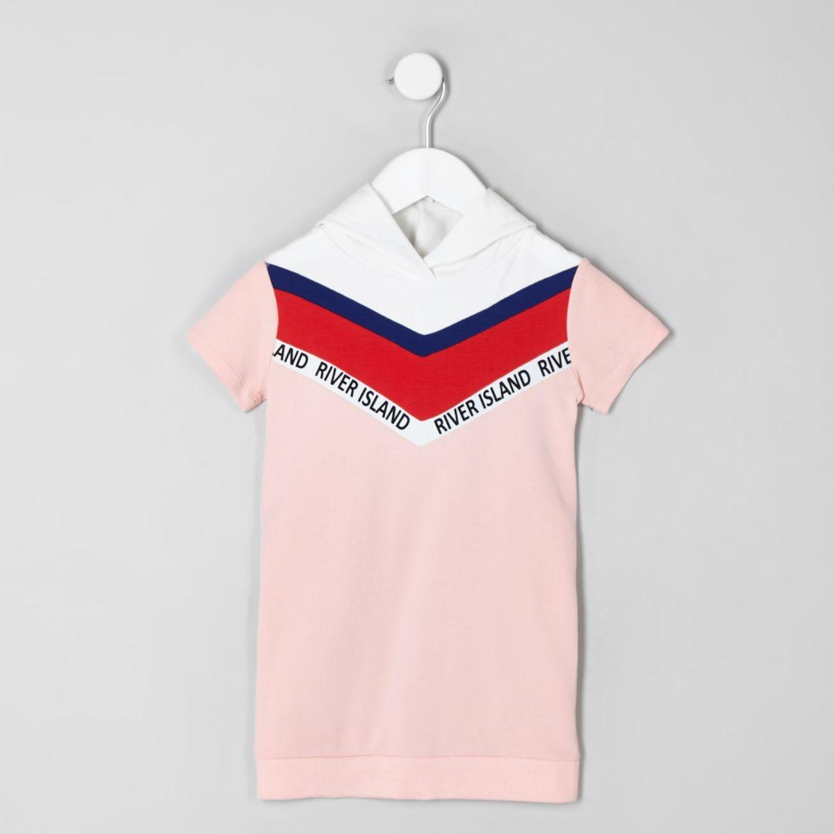Mini girls pink chevron sweatshirt dress