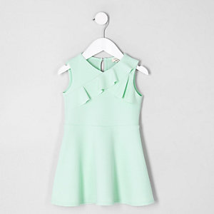 Mini girls green asymmetric frill dress