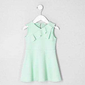 Mini - Groene asymmetrische jurk met ruches voor meisjes
