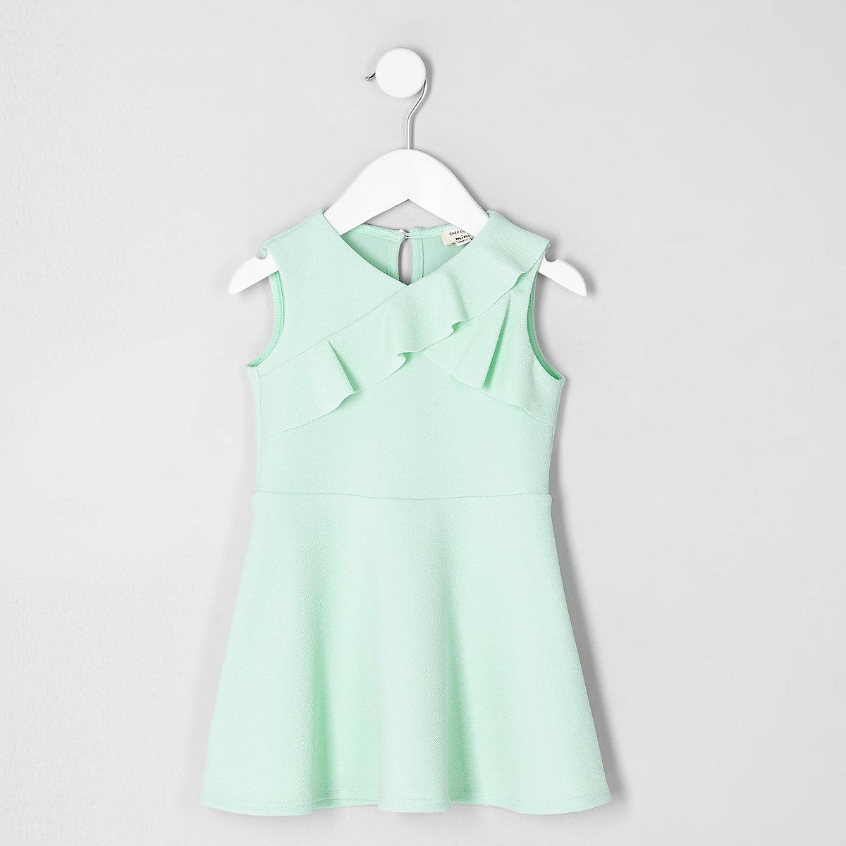 Mini girls green asymmetric frill dress