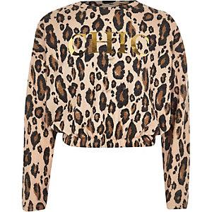Crème pullover met 'chic'- en luipaardprint voor meisjes