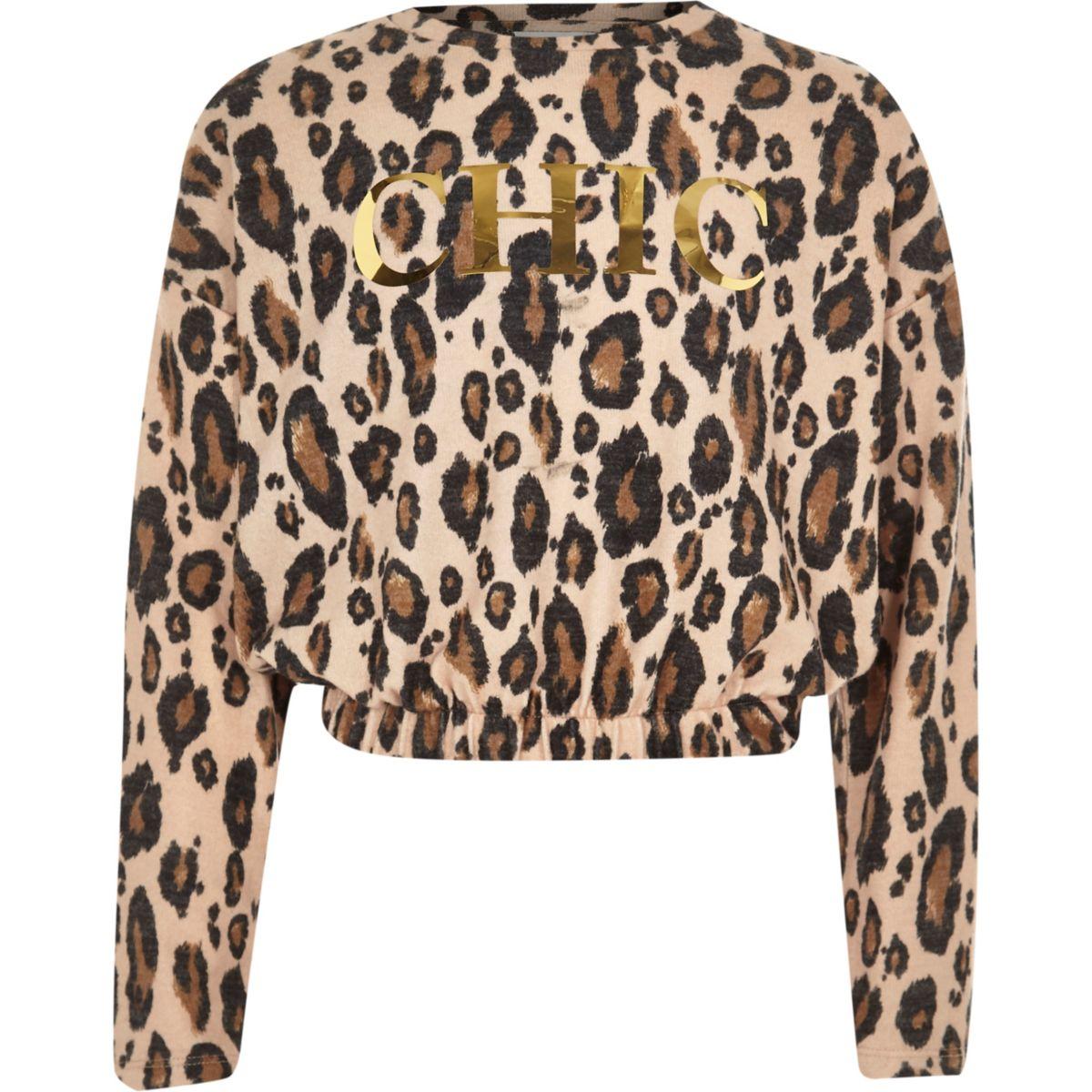 Girls cream leopard print 'chic' jumper