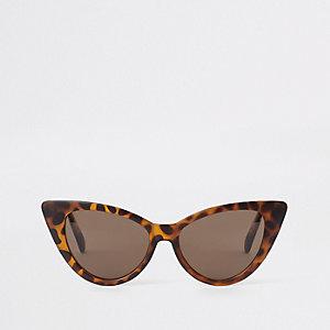 Braune Cateye-Sonnenbrille aus Schildpatt