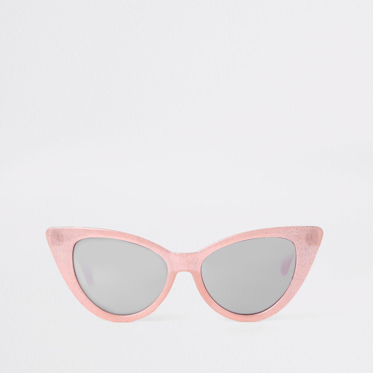 Cateye-Sonnenbrille in Pink-Glitzer