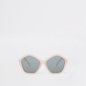 Girls pink glitter hexagon sunglasses