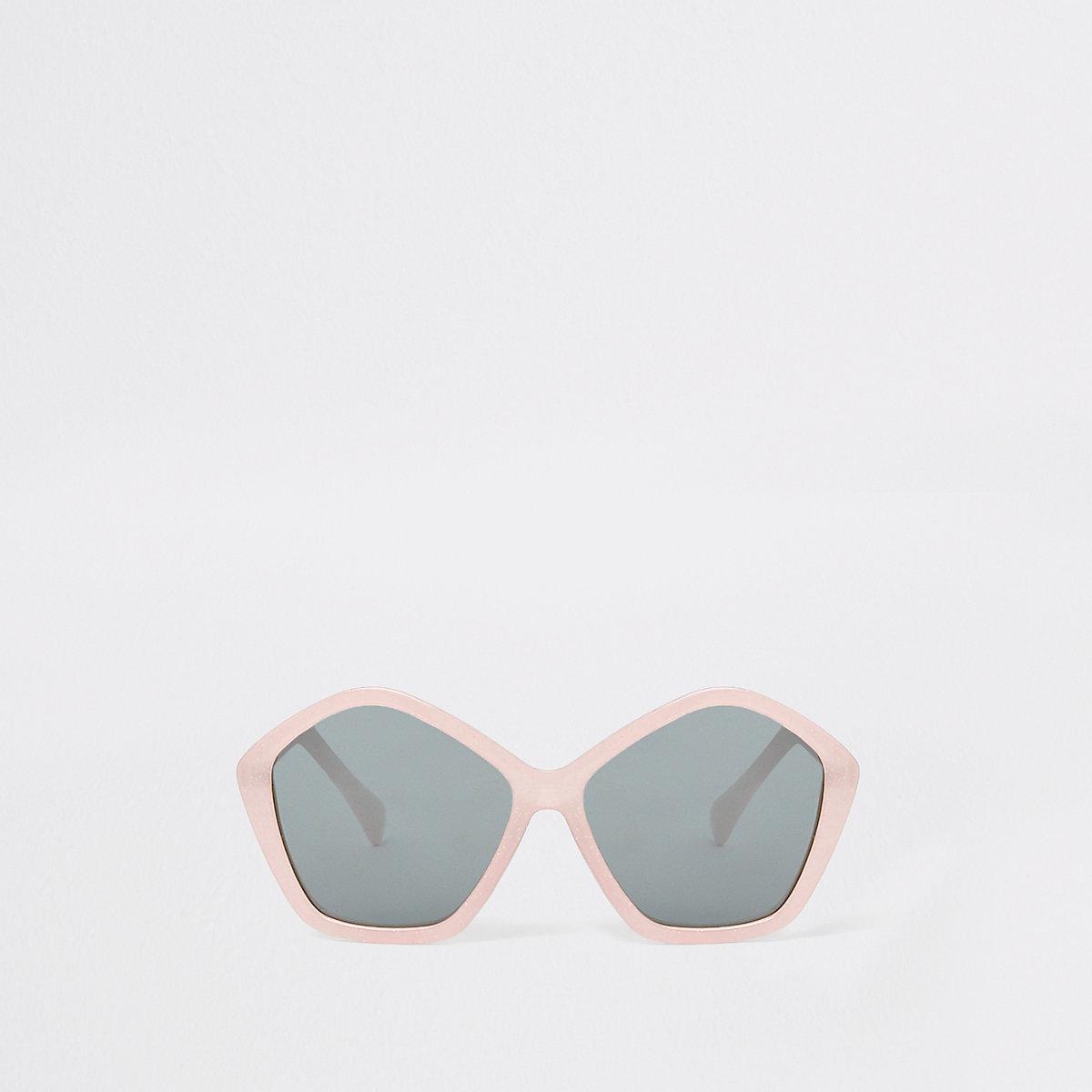 Girls pink glitter hexagon sunglasses