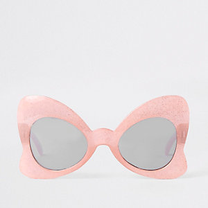 Girls pink glitter bow sunglasses