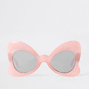 Roze strikzonnebril met glitter
