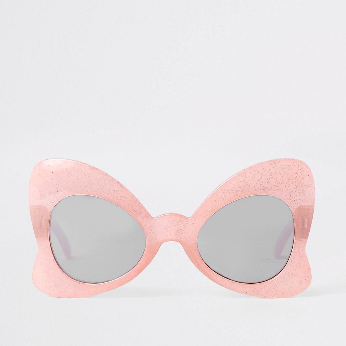 Mini girls pink glitter bow sunglasses
