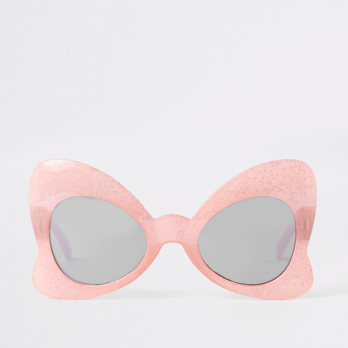 Girls pink glitter bow sunglasses