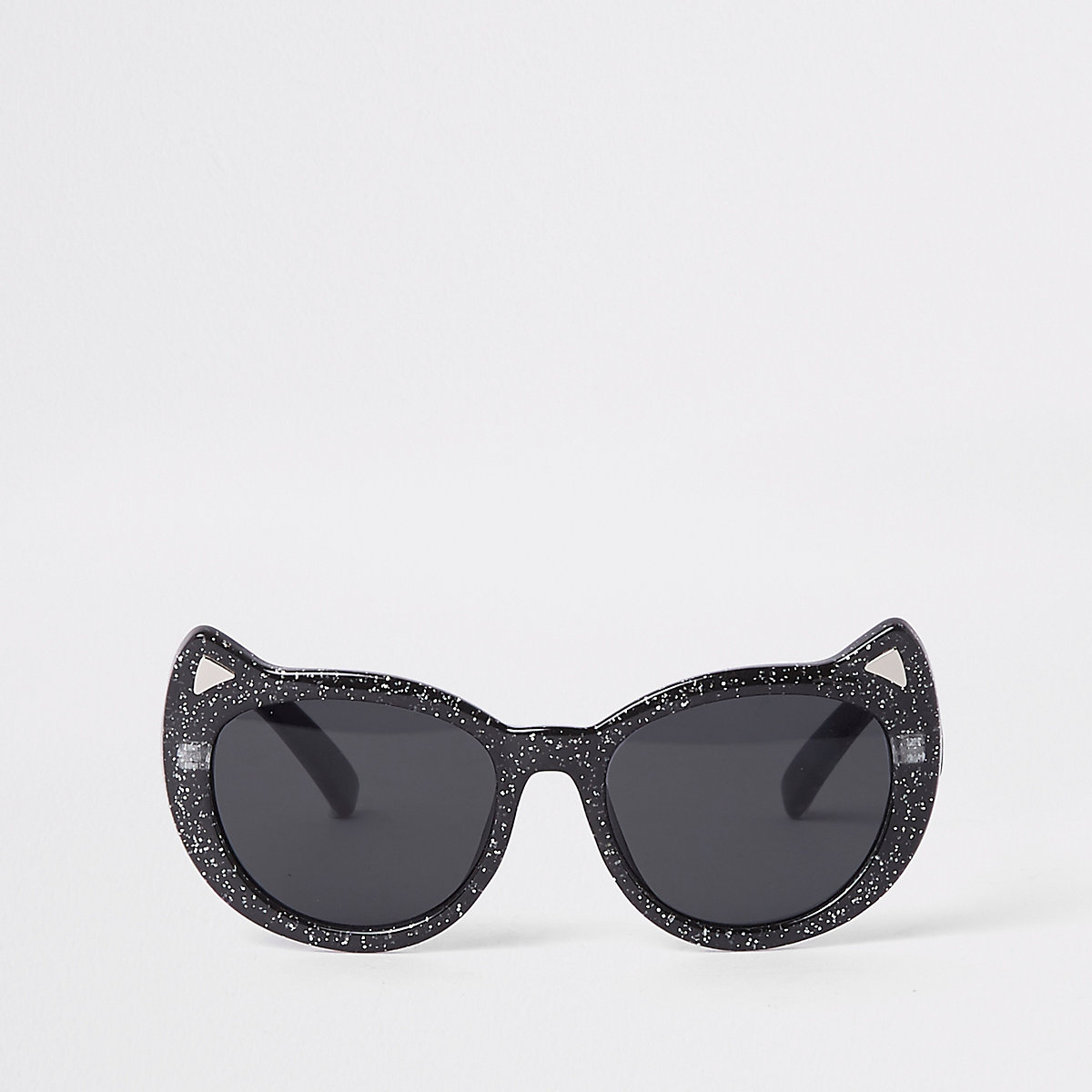 Mini girls black glitter cat eye sunglasses