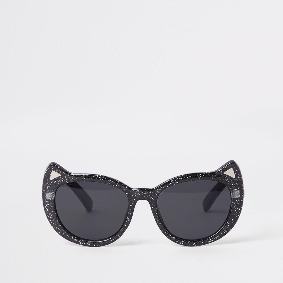 Girls black glitter cat eye sunglasses