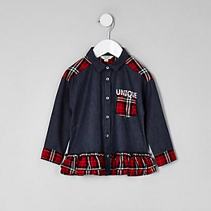 Mini girls denim check button-up peplum shirt