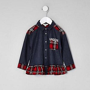 Chemise péplum en denim à carreaux boutonnée mini fille