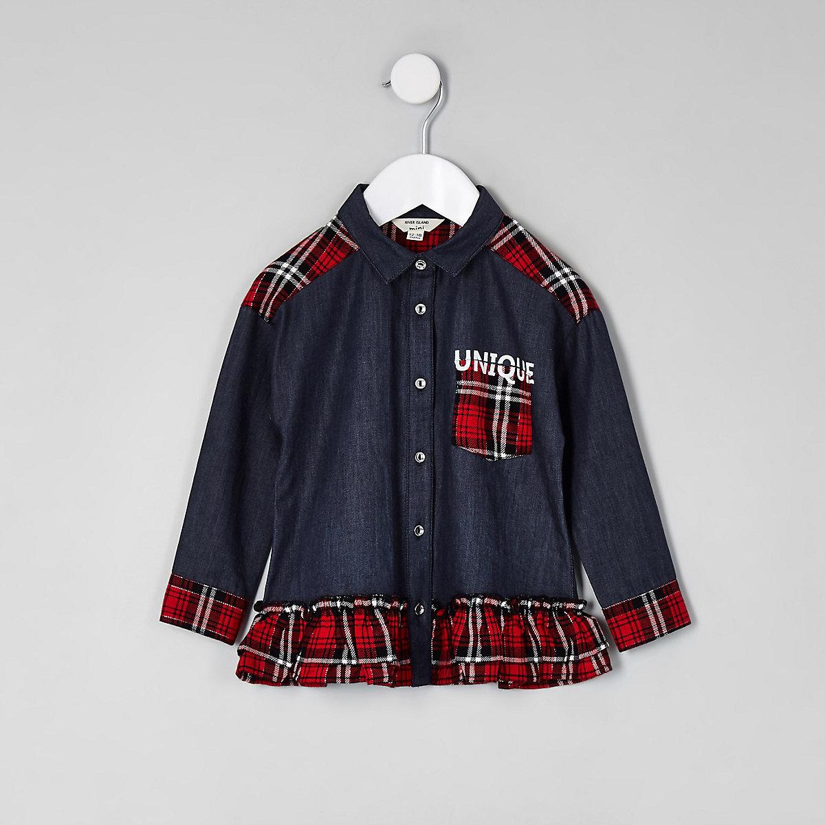 Mini girls denim check button-up peplum shirt